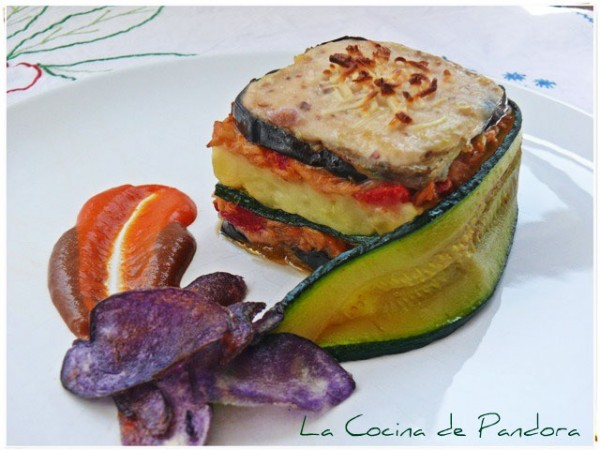 Timbale of aubergine with White Tuna (Albacore), courgette scarf and purple crisps