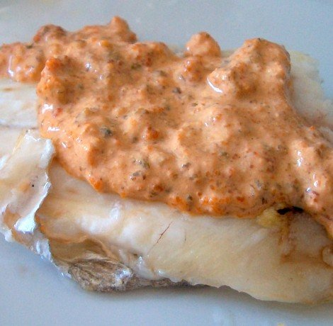 Fillets of sea bass with Sea Urchin Roe