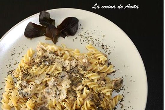 Fusilli pasta twists, cream, Yellowfin Tuna and mushrooms
