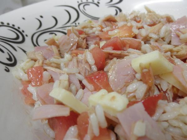 "Rice and White Tuna (Albacore) ""Cogote"" Fillets salad"