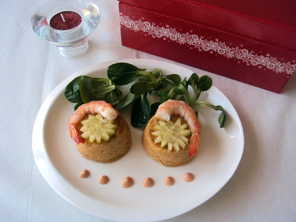 Tuna and shrimp mini flans