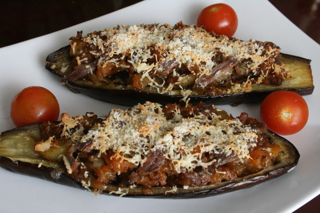 Aubergines filled with anchovies from the Bay of Biscay