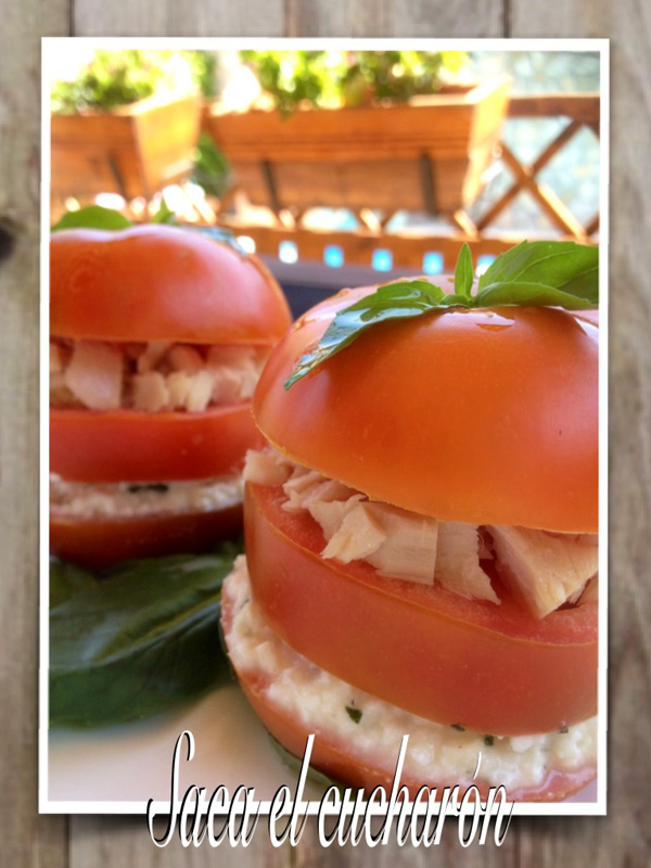 Tomatoes filled with tuna and cheese
