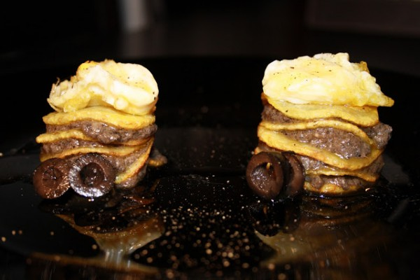 Anchovies and potato millefeuilles