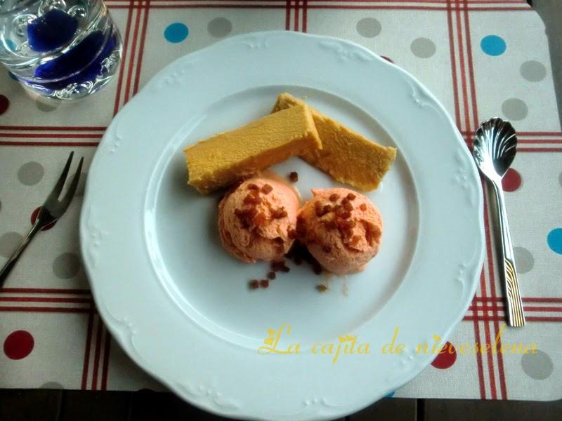 Salmorejo ice cream with tuna and crispy Iberian ham