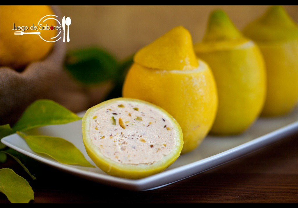 Lemons filled with tuna paté and pistachios