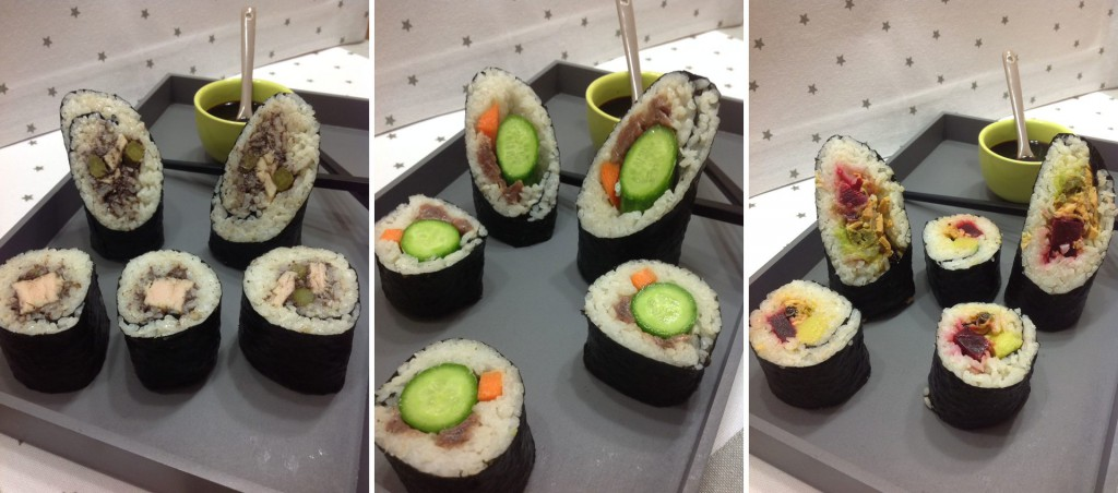 Christmas canapés: tuna, anchovy and mussel sushi selection