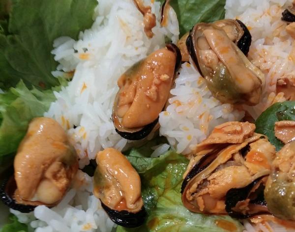 inglés ensalada-arroz-mejillones