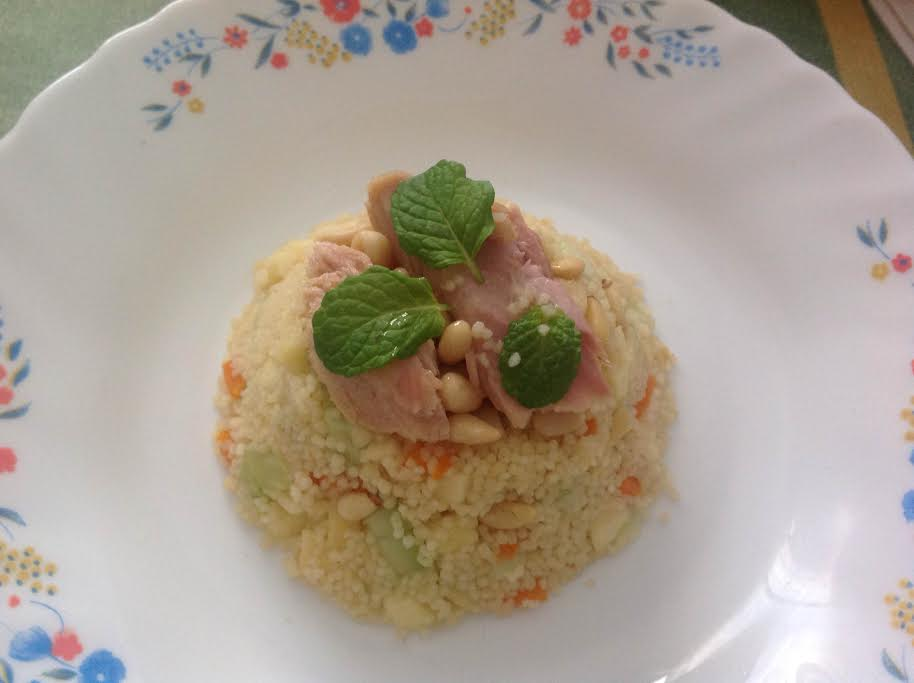 Couscous salad with white tuna belly