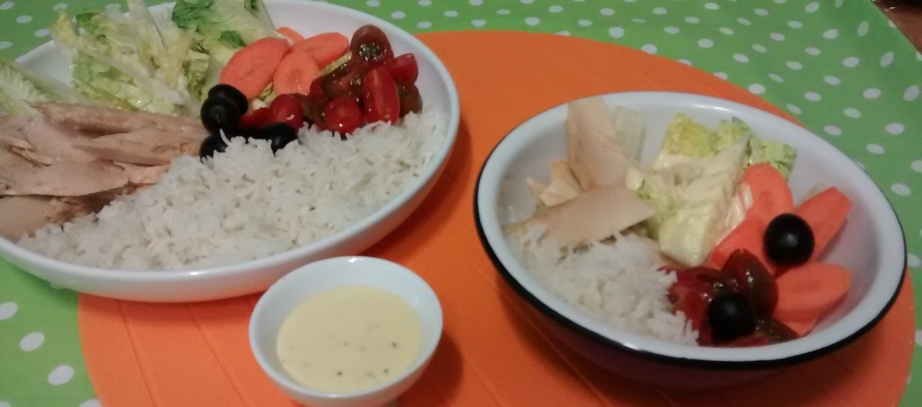 Rice and white tuna belly salad