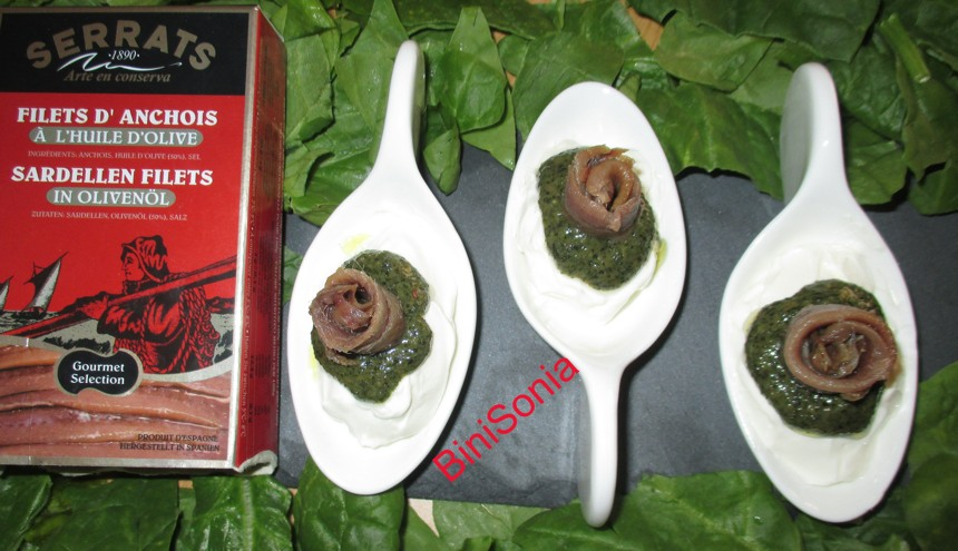anchovies with pesto in appetiser spoons
