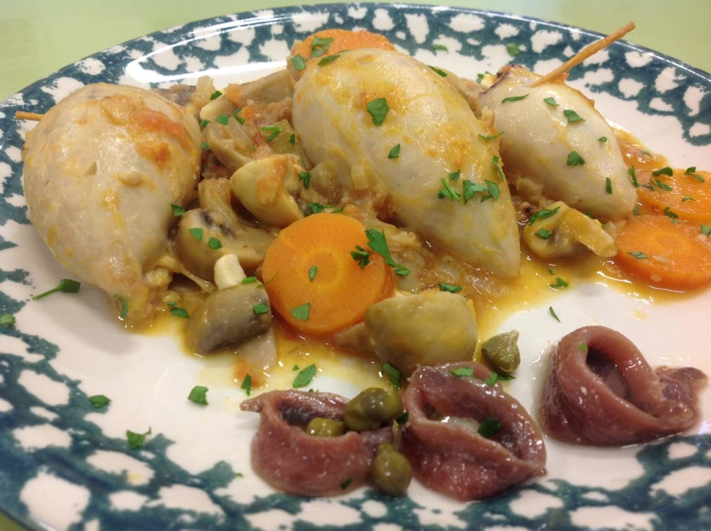 Calamari stuffed with Cantabrian Sea anchovies