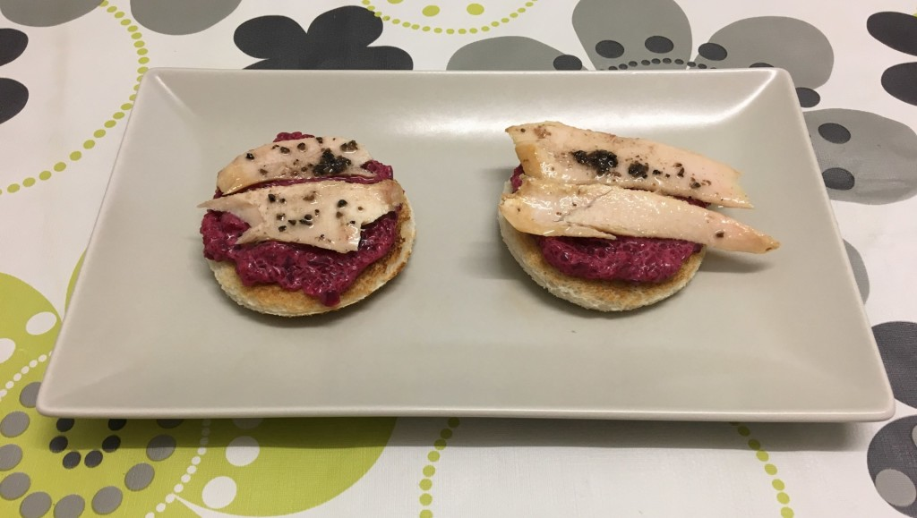 Truffled tuna belly toastie with beetroot mayonnaise