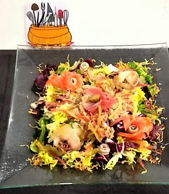 Salad with smoked fish and tuna mojama