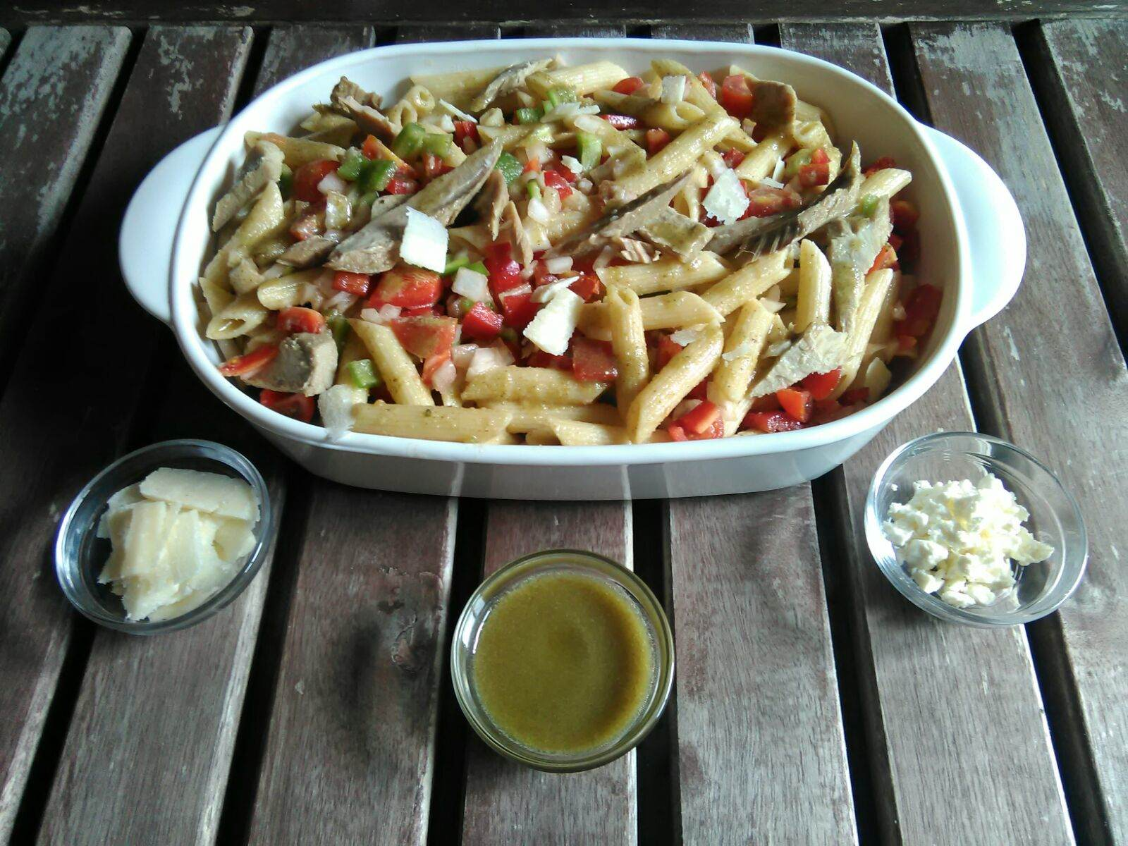 Pasta salad with tuna belly