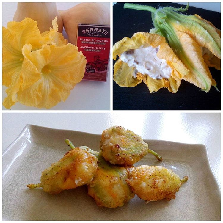 Pumpkin flowers filled with cheese and Cantabrian anchovies