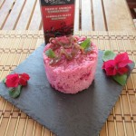 Pink risotto with anchovy and a basil twist