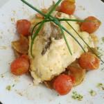 White tuna au gratin with alioli