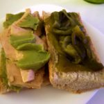 White Tuna sandwich with green pepper and guacamole