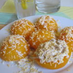 Peach in syrup stuffed with tuna