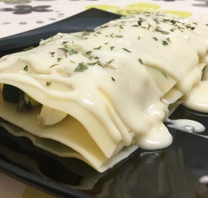 Tuna, zucchini and mushrooms lasagna