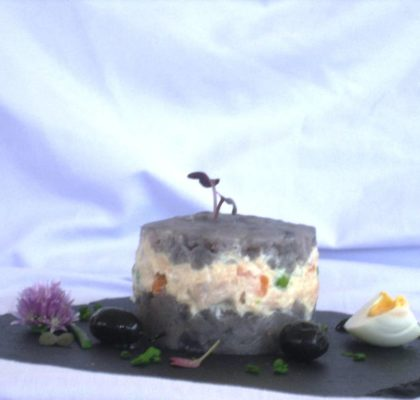 Purple potatoes parmentier with pickled White Tuna