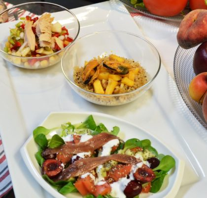 3 salads with fruit