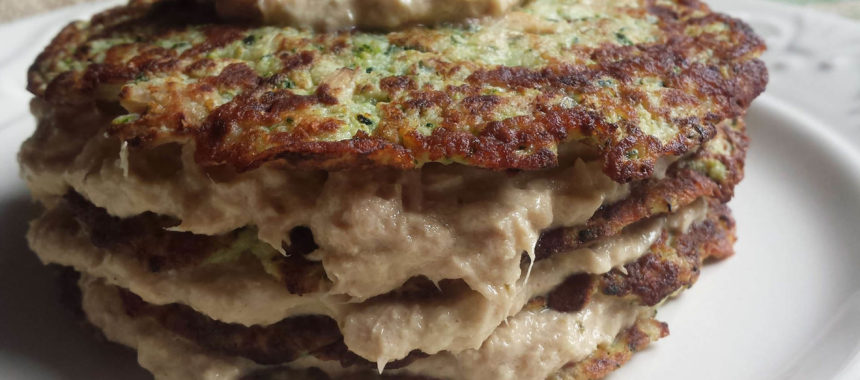 Zucchini and tuna pancakes mille-feuille