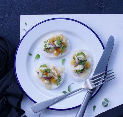 Mozzarella salad with anchovies and nectarine