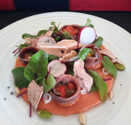 Tuna and anchovy salad on gazpacho jelly