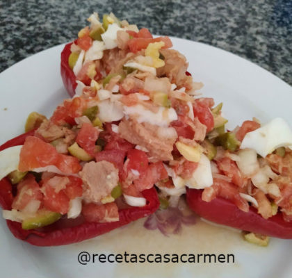 Roasted peppers stuffed with salad