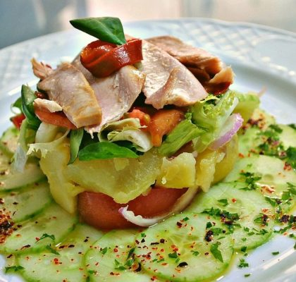 Piriñaca (potato salad) with Albacore tuna belly