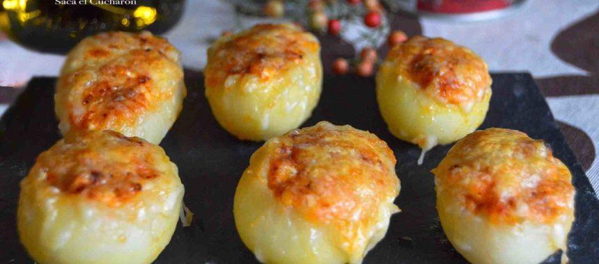 Christmas canapé: little potatoes stuffed with tuna and egg
