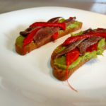 Guacamole, anchovy and piquillo pepper toast