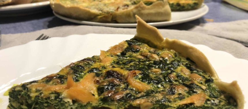 Homemade quiche with spinach and tuna belly