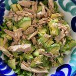 Fresh salad with avocado and tuna