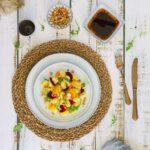 Gnocchi salad with mandarin, beetroot and white tuna