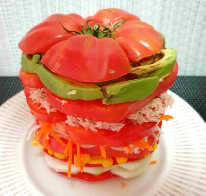 Tomato and tuna Mille-Feuille